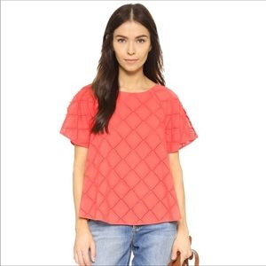 Madewell eyelet lattice Orange Top